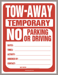 Temporary No Parking Sign (PDF Download)