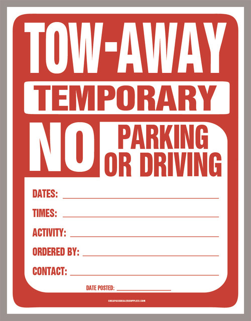 Temporary No Parking Sign (PDF Download) - Cheap Ass Dealer Supplies