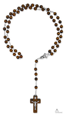 Brown First Communion Rosary by Venerare