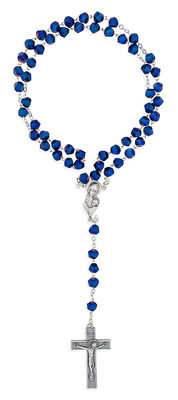 Madonna and Child Rosary with Geometric Glass Beads