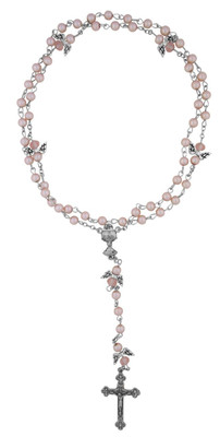 Pink First Communion Rosary with Angel Wing Beads