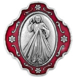 Catholic Rosary and Case Gift Set - Divine Mercy w/ Red Enamel