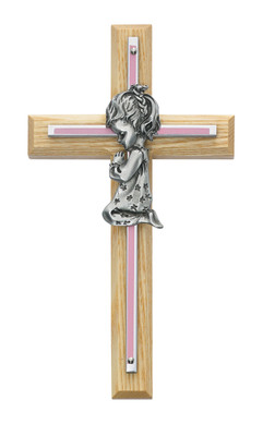 7in Oak with Baby Pink Girl Praying Cross Boxed