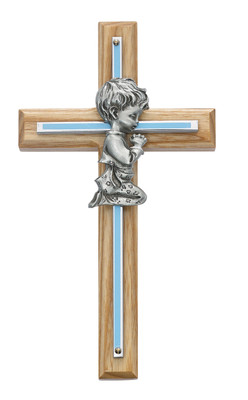 7in Oak with Blue Baby Boy Praying Cross Boxed