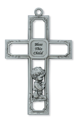 6in Pewter Baby Boy's Prayer Wall Cross