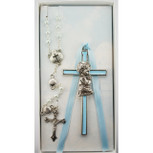 Blue Crib Cross and Blue Rosary Set
