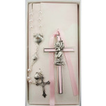 Pink Crib Cross and Pink Rosary Set