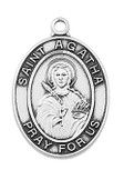Sterling Silver Oval Saint Medal