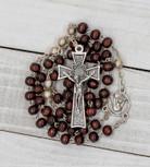 Dark Brown Wooden First Communion Rosary