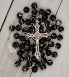 Sunburst Swirl First Communion Rosary (Black)