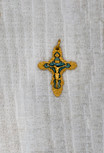 """1"""" Small Baroque Crucifix Pendant (Gold and Blue)"""