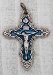 "1"" Small Baroque Crucifix Pendant (Sliver and Blue)"