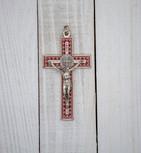 """3"""" Unique Saint Benedict Crucifix Pendant (Sliver and Red)"""