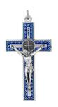 "3"" Unique Saint Benedict Crucifix Pendant (Sliver and Blue)"