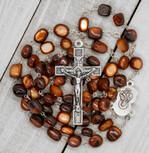 Natural Stone Beaded Rosary (Brown)
