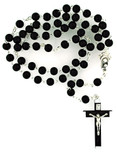 6mm Black Wood Rosary with Metal Backed Crucifix