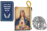 Military Rosary with Prayer Book and Tapestry Pouch (Chrome, Sacred Heart of Jesus / Immaculate Heart of Mary)