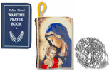 Military Rosary with Prayer Book and Tapestry Pouch (Chrome, Madonna and Child 1)