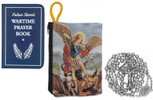Military Rosary with Prayer Book and Tapestry Pouch (Chrome, Saint Michael)
