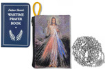 Military Rosary with Prayer Book and Tapestry Pouch (Chrome, Divine Mercy 2)
