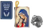 Military Rosary with Prayer Book and Tapestry Pouch (Gunmetal, Madonna and Child 1)