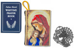 Military Rosary with Prayer Book and Tapestry Pouch (Gunmetal, Madonna and Child 2)