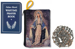 Military Rosary with Prayer Book and Tapestry Pouch (Antique Copper, Miraculous Medal)
