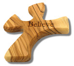 Olive Wood Prayer Cross - Fits Perfectly into Hand (Believe)