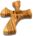 Olive Wood Prayer Cross - Fits Perfectly into Hand (Faith)