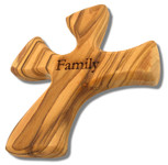 Olive Wood Prayer Cross - Fits Perfectly into Hand (Family)