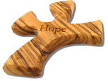 Olive Wood Prayer Cross - Fits Perfectly into Hand (Hope)