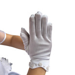 Girls' White Satin Gloves with Embroidered Cross (4-7Y)