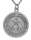 """1"""" Pewter United States Army Medal with Saint Michael Back"""