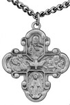 """Small Pewter Four-Way Medal with Detail with 18"""" Chain"""