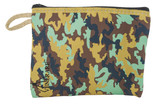 Large Tapestry Rosary Pouch with Traditional Catholic Art (Green Camo)