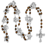 Stations of the Cross Deluxe Rosary with Pewter Medals and Mahogany Beads