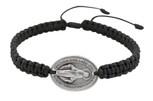 Adjustable Cord Bracelet with Miraculous Medal - Black