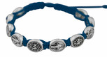 Adjustable Cord Bracelet with Medals (Miraculous Medal Silver - Blue)