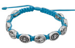 Adjustable Cord Bracelet with Medals (Miracluous Medal Silver - Light Blue)