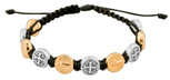 Adjustable Cord Bracelet with Medals (Saint Benedict Gold and Silver - Black)
