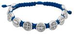 Adjustable Cord Bracelet with Medals (Saint Benedict Silver - Blue)