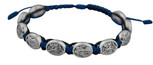 Adjustable Cord Bracelet with Medals (Saint Michael & Guardian Angel / Police - Blue)