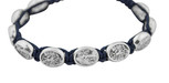 Adjustable Cord Bracelet with Medals (Saint Michael & Guardian Angel - Navy Blue)