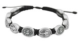 Adjustable Cord Bracelet with Medals (Divine Mercy Silver - Red)