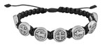 Adjustable Cord Bracelet with Medals (Miraculous Medal Silver - Black)