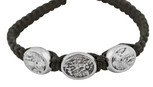 Adjustable Cord Bracelet with Medals (Saint Michael Silver - Black) (Kids' Size)