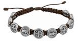 Adjustable Cord Bracelet with Medals (Saint Benedict Silver - Brown)