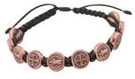 Adjustable Cord Bracelet with Medals (Saint Benedict Copper - Black)