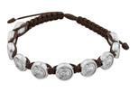 Adjustable Cord Bracelet with Medals (Saint Pare Pio - Brown)