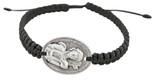 Adjustable Cord Bracelet with Saint Sabastian Medal Charm & Black Cord